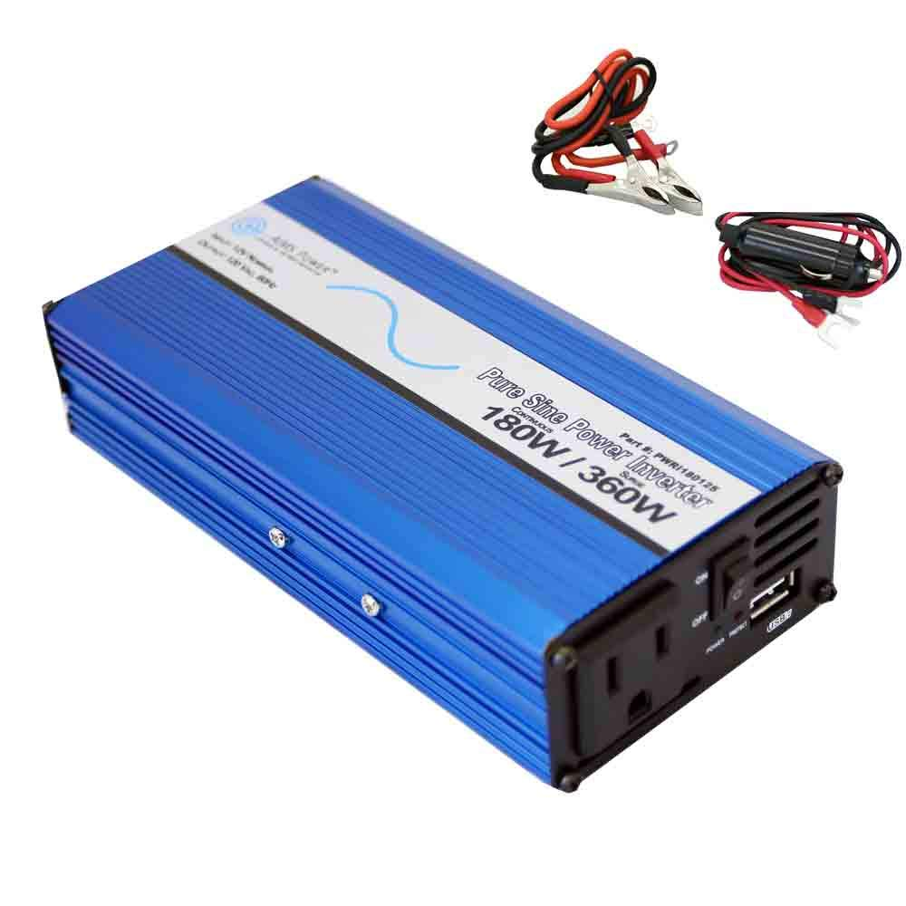 AIMS Power PWRI18012S Pure Sine Power Inverter with USB Port, 12 VDC 180 Watt Continuous Power, 360 Watt Peak Power, USB Port, Cigarette Lighter Cable by AIMS Power