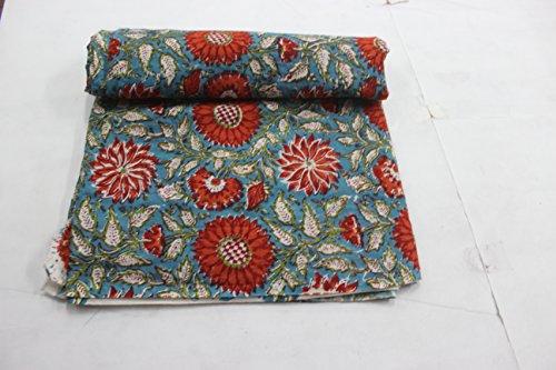 HANDICRAFTOFPINKCITY 5 Yard Hand Block Print Cotton Indian Natural Leaf Flower Print Fabric Stripe