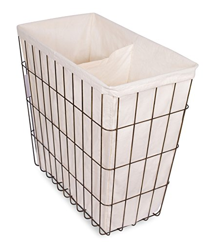 BirdRock Home Wire Double Laundry Hamper with Liner | Modern Age | Removable Liner | Easily Transport Laundry | Decorative | Rustic Metal Frame | 2 Compartments (Metal Hampers)