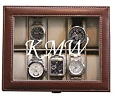 Customized Brown Watch Storage Box with 1 Line of Engraving - Groomsman Wedding Father's Day Gift - Personalized Engraved and Monogrammed for Free
