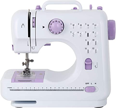 White Portable Sewing Machine Mini Household Multi-Function Electric Sewing Machine with Light