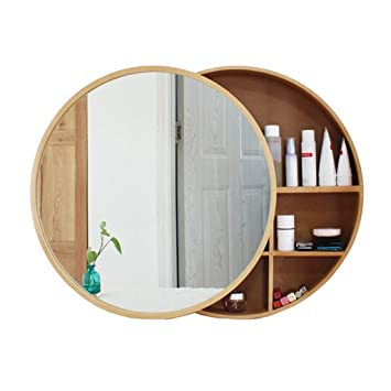 Amazon Com Sdk Round Bathroom Mirror Cabinet Bathroom Wall Storage Cabinet Sliding Mirror Medicine Cabinet With Steel Gliding Stainless Wooden Frame 3 Level Color Gold Size 60cm Beauty