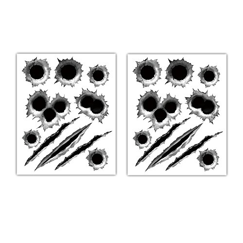 Stickers Car Decals Bullet Holes Scars 3D Sticker Scratches Tattoo Car Accessories Decoration Waterproof Trucks Vehicle Fade Funny Horrifying Front Rear 11.4''x9'' 2pcs【1797】