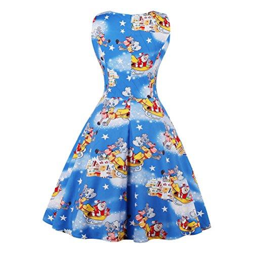 Zhuhaitf Pattern Evening Fashion Gifts neck Grils Christmas O Sleeveless Xmas Dresses Azul Santa Dress Party Suave Paño r0ZqUr