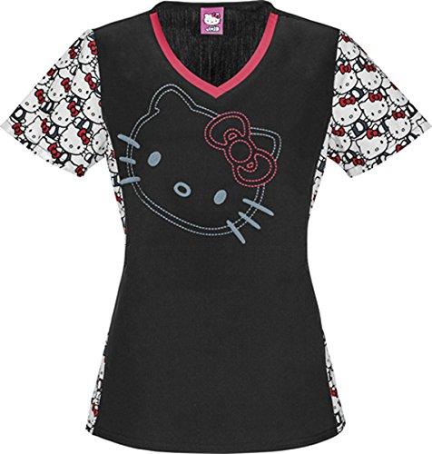 Tooniforms 6895 Women's V-Neck Top I Love Hello Kitty X-Small