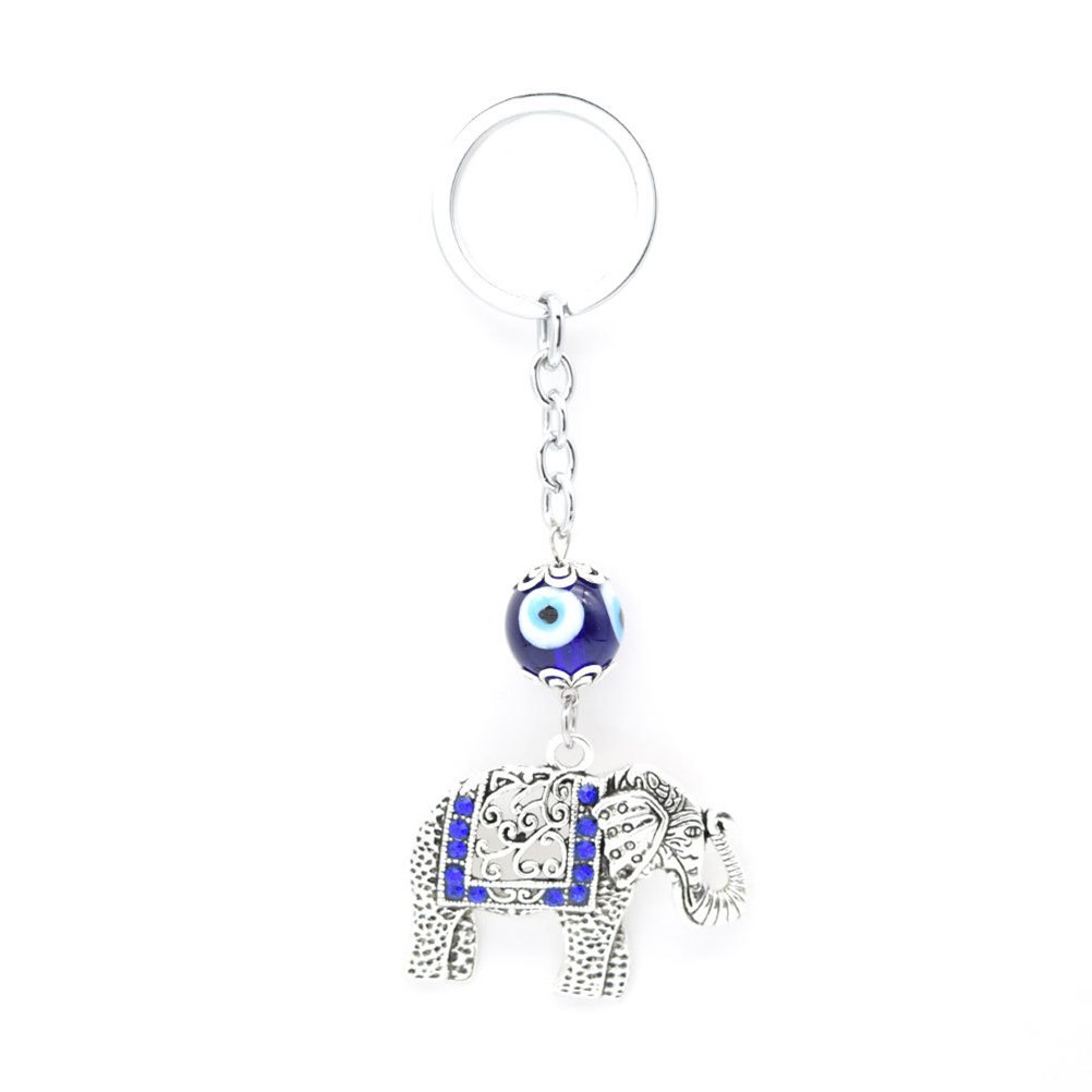 Plata BESTOYARD Llavero Talism/án Nazar Blue Evil Eye con elefante Llavero Llavero para mujer y hombre