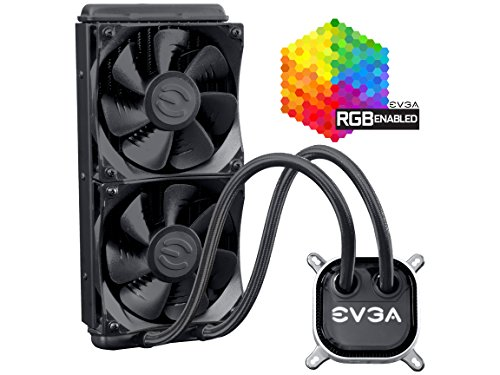 EVGA CLC 240mm All-In-One RGB LED CPU Liquid Cooler, 2x FX12 120mm PWM Fans, Intel, AMD, 5 YR Warranty, 400-HY-CL24-V1