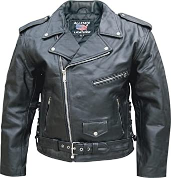 58de40efd1f Image Unavailable. Image not available for. Color  Men s Black Leather  Motorcycle Biker Jacket with Zip Out Lining and Side Laces-AL2003-