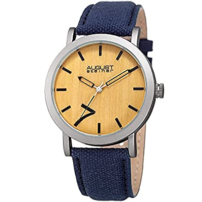 August Steiner Men's 'Matte Finish Alloy Case' Quartz Stainless Steel and Leather Casual Watch, Color:Blue (Model: AS8238BU)