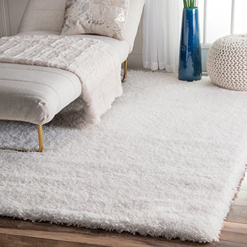Soft & Plush Nursery Solid Snow White Kids Shag Area Rugs, 8 Feet by 10 Feet (8' x - Rug White Area