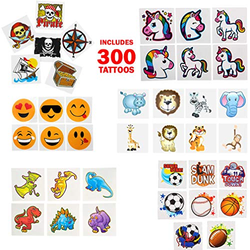Temporary | Fake Tattoo Assortment for Kids - Variety for Boys and Girls - Pirates, Princess, Zoo Animals, Dinosaurs, Emoji and Sports - Birthday Party Favors or Prizes]()