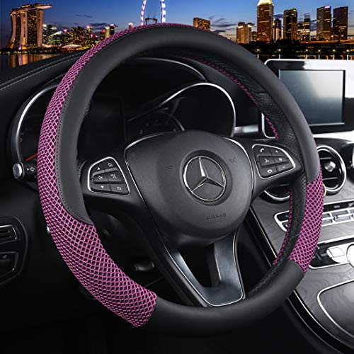 (Cxtiy Universal Car Steering Wheel Cover Cool for Summer Warm for Winter Steering Wheel Cover Fit Most of Cars SUV Auto Vehicle (C-Purple))