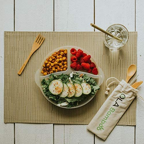 Zero Waste KIT - 5 Piece Set Eco-Friendly Set Includes Knife, Fork, Straw, Teaspoon, Cleaning Brush with a Travel Bag - Reusable Utensils- Perfect for Office, School & Travel, Bamboo utinsels