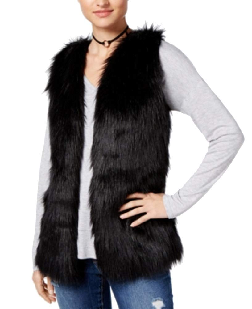 Hippie Rose Juniors' Faux-Fur Sweater Vest (Black, L) by Hippie Rose