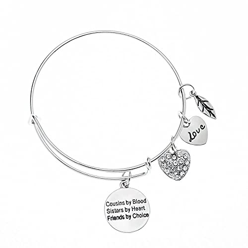 infinity collection cousin gift cousins by chance friends by choice charm adjustable bangle