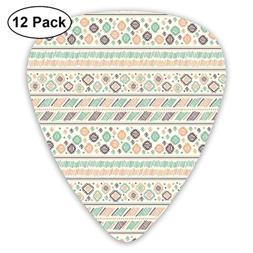 (Guitar Picks - Abstract Art Colorful Designs,Tribal Composition Of Rhombuses Triangle And Stripes Geometric Oriental Illustration,Unique Guitar Gift,For Bass Electric & Acoustic Guitars-12 Pack)