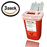 1 Quart Size (Pack of 3) | Oakridge Products Sharps Container with Flip Lid | for Diabetics