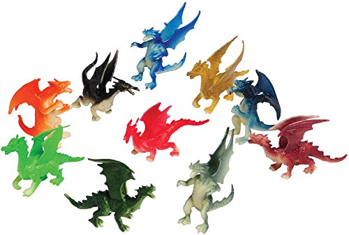 Assorted Color And Design Mini Dragon Action Figures (12) Dragon Mini Figure