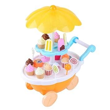 AOLVO Carrito de helado niños, 39pcs juego de juguetes de simulación carrito de dulces alimento