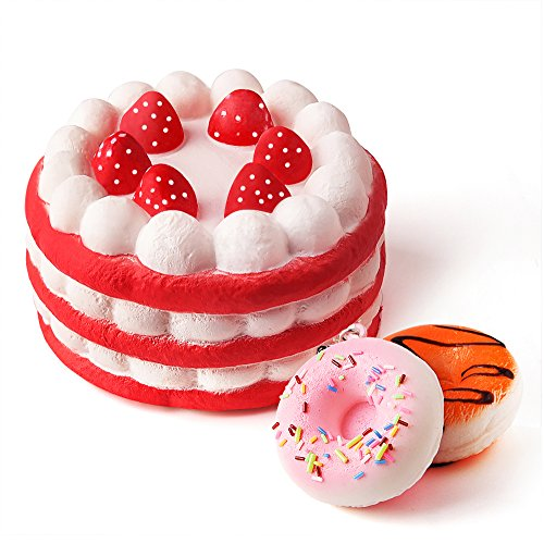 Kuuqa Jumbo Squishies Strawberry Cake and Mini Squishy Donuts Scented Slow Rising Silly Kawaii Squishies Charms Kids Toys Gift Party Favors Supplies 3 Pieces(Donuts Random Color)