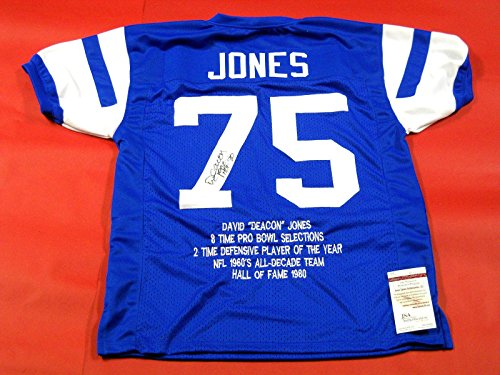 Signed Deacon Jones Jersey - Throwback Stat Hof 80 - JSA Certified - Autographed NFL Jerseys (Deacon Jones Nfl)