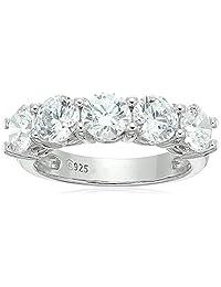 Platinum-Plated Sterling Silver Swarovski Zirconia 3 cttw Round 5 Stone Ring