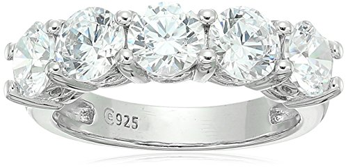 Platinum-Plated Sterling Silver Round-Cut 5-Stone Ring made with Swarovski Zirconia (3 cttw), Size -