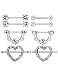 Milacolato 3-4 Pairs 316L Stainless Steel Nipplerings Tongue Rings Women Girls CZ Crystal Heart-Shape Barbell Piercing Jewelry 14G