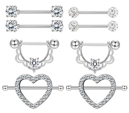 Tongue Piercing Heart - Milacolato 4 Pairs 316L Stainless Steel Nipplerings Tongue Rings for Women Girls CZ Crystal Heart-Shape Barbell Piercing Jewelry 14G Silver