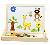 Vidatoy Wooden Animals Puzzles Magnetic Double-faced Learning & Drawing Board For Kids