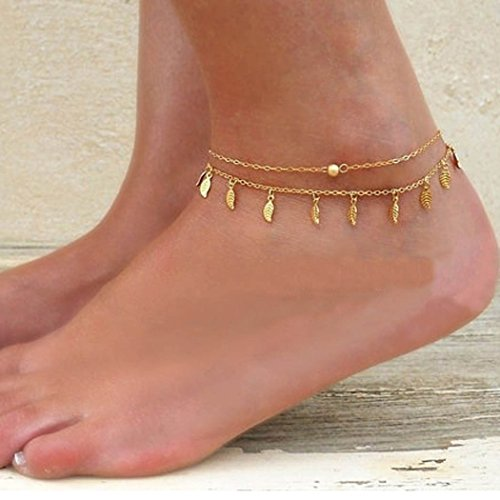 Jovono Leaf Dangle Anklet Bracelet Beach Foot Chain Anklet for Women and Girls