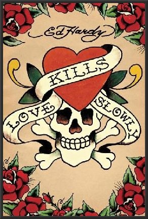 Amazon.com: Ed Hardy (Love Kills Slowly, Tattoo) 24x36 Wood Framed ...