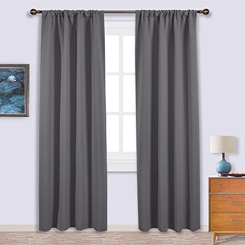 NICETOWN Blackout Curtains 84 for Bedroom - Three Pass Microfiber Noise Reducing Thermal Insulated Solid Rod Pocket Blackout Window Panels / Drapes (Two Panels,42 x 84 Inch,Gray)