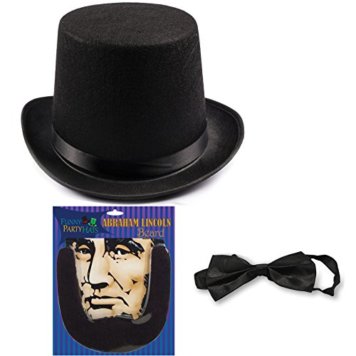 Abraham Lincoln Costume Set - Hat with Beard and Necktie by Funny Party Hats (3 PC Set) - Lincoln Hat With Beard