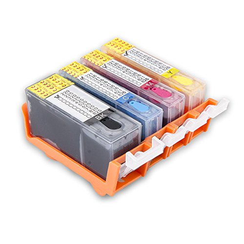 Aomya Refilled Ink Cartridge Replacement for Canon PGI-220 CLI-221(PBK, BK, C, M, Y) 5 Pack
