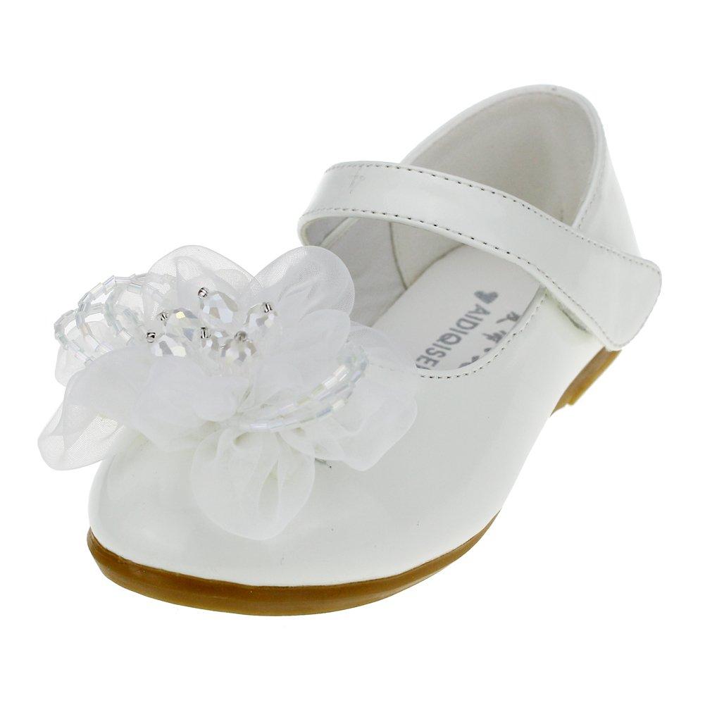 Cixi Maxu E-Commerce.Co.Ltd Maxu Little Girl's PU Dress Flats Flower Party Mary Jane,White,Little Kid,12M