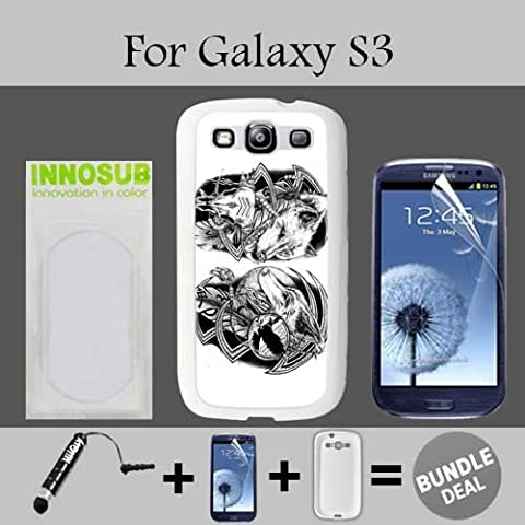 Nativ American Tattoos Wolf Custom Galaxy S3 Cases-White-Plastic,Bundle 3in1 Comes with Screen Protector/Universal Stylus Pen by (Galaxy S3 Case Native)