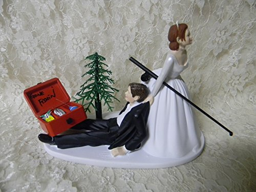 Gone Fishing Wedding Cake Topper (Wedding Reception Fishing Fishermam Cake Topper Red Hair on Bride)