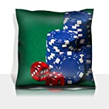 MSD Throw Pillowcase Polyester Satin Comfortable Decorative Soft Pillow Covers Protector sofa 16x16, 1pack IMAGE ID 24878184 heap of blue poker chips and red cubes on the green table