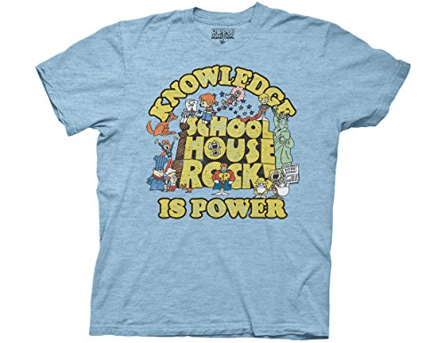 Logo 80s T-shirt (Ripple Junction Schoolhouse Rock Knowledge is Power Logo Group Adult T-Shirt 3XL Heather Light Blue)