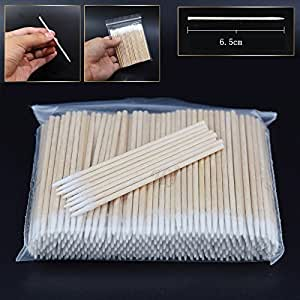 300pcs/pack Short Wood Handle Small Pointed Tip Head Cotton Swab Eyebrow Tattoo Beauty Makeup Color Nail Seam Dedicated Dirty Picking Pack of 2