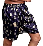 Macondoo Men Sleepwear Silk Summer Thin Shorts Loose Printed Pajama Pants Blue S