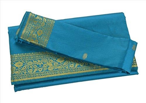 Indian Art Silk Sari Saree Woven Golden With Blouse Piece Paisley Design Decor - Silk Sari Saree