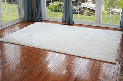 MakeTop Faux Sheepskin Silky Flokati Fur Area Rug 8 X 5 Modern in White