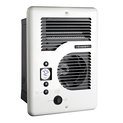Wall 120v Fan Forced - Cadet CEC163TW Energy Plus multi-watt 120/240V wall heater with electronic thermostat, white