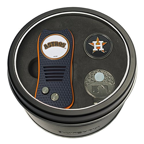 Team Golf MLB Houston Astros Gift Set Switchblade Divot Tool, Cap Clip, & 2 Double-Sided Enamel Ball Markers, Patented Design, Less Damage to Greens, Switchblade Mechanism