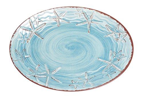 Galleyware Blue Raised Starfish Melamine Oval Platter -