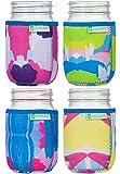 JarJackets Neoprene Mason Jar Protector Sleeve/Koozie - Fits 16oz (1 pint) Jars (4, Multicolor)