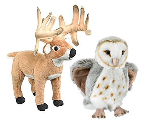 Mozlly Value Pack - Wild Life Artist Conservation Critters Barn Owl and Whitetail Deer Buck Stuffed Animal - Wild Animals - Super Soft Plush (2 Items)]()