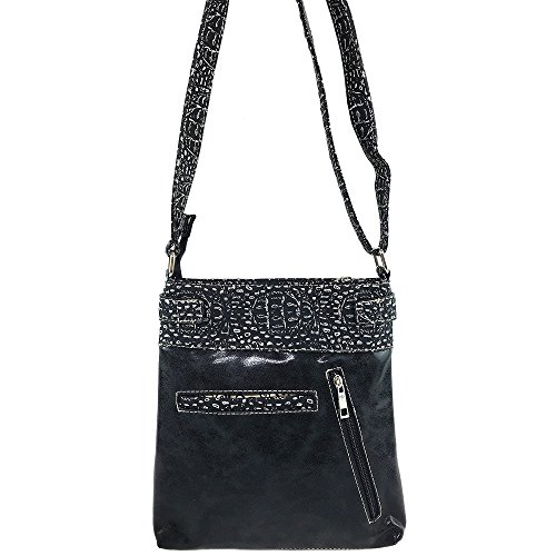 Phone Skin Crossbody West Carry Messenger Concealed and Croc Handbag Purse Justin Skull Slot Black Bag Tooled Rhinestone with dY1xZqXWqw